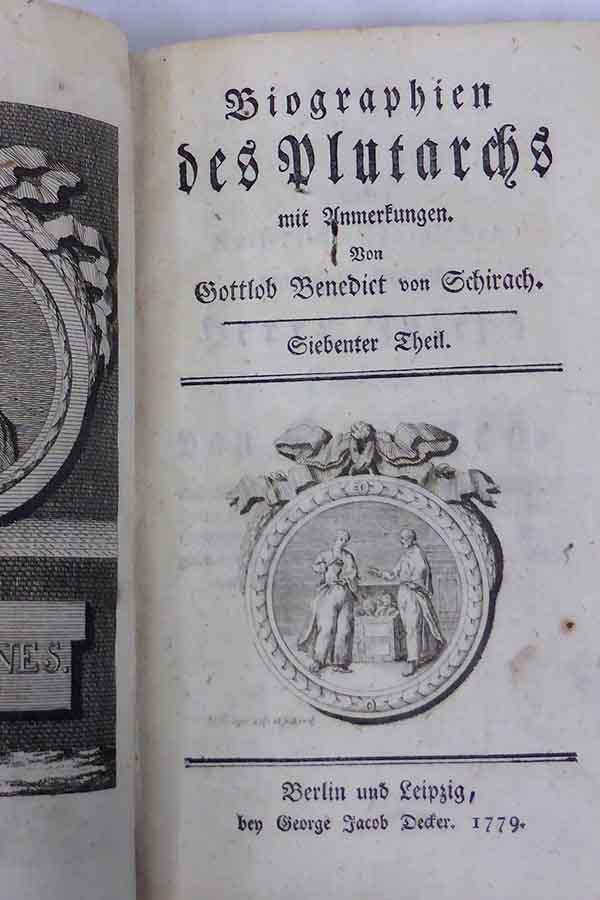 Antikes Buch Gottlob Benedikt von Schirach - Antikankauf München