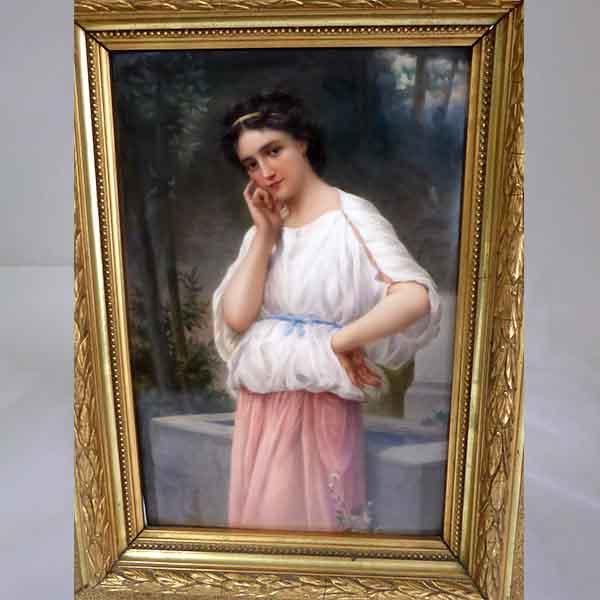 Antikes Gemälde, Frau auf Leinwand mit goldenem Rahmen - Ankauf Weiss München