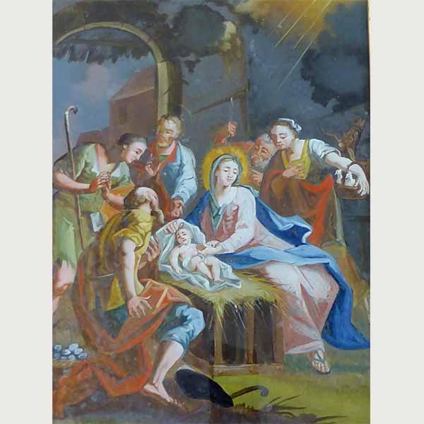 Heiligenbild von der Geburt Jesu als Glasmalerei - Gemälde verkaufen München